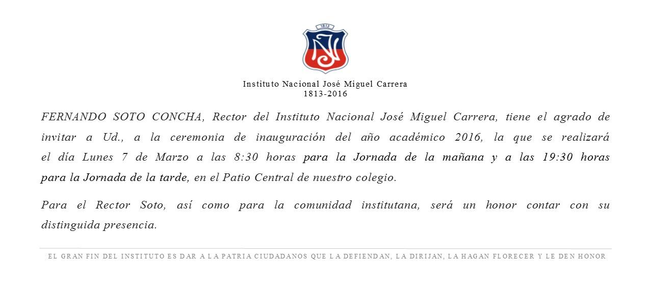 Invitacion Ceremonia De Inauguración Del Año Académico 2016